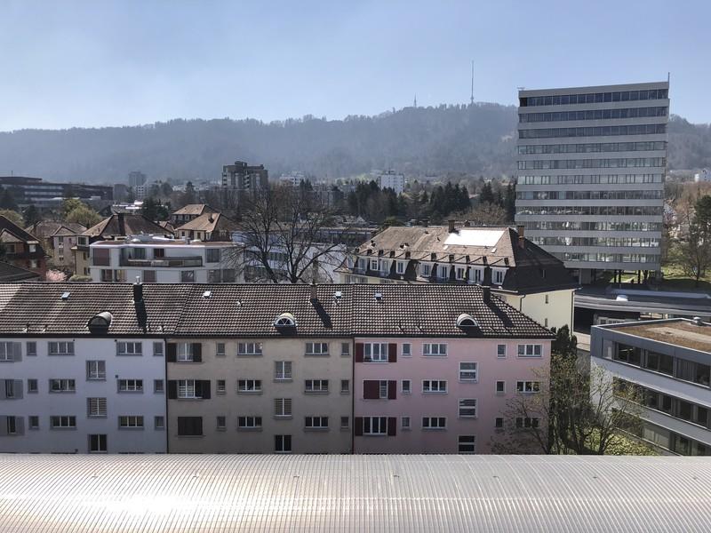 Die Aussicht vom Balkon auf den Uetliberg.