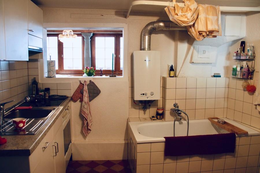 Baden in der Küche, kochen im Bad?