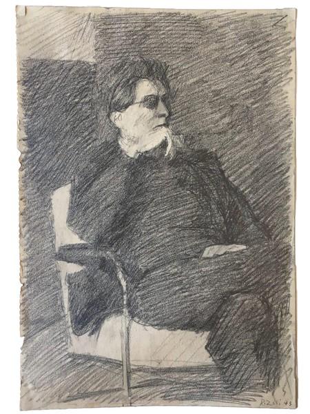 Itschner auf einer Zeichnung von Robert Zuberbühler, 1943. (Quelle: Sozialarchiv, Nachlass von Hans Itschner)