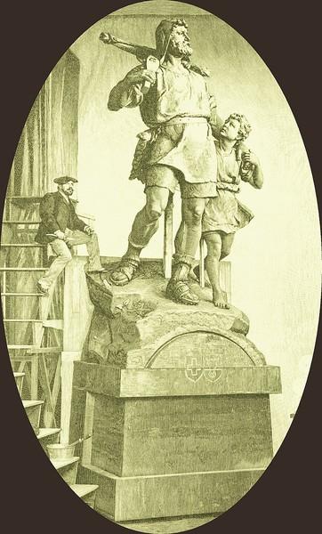 Kissling in seinem Atelier mit Tell-Denkmal
