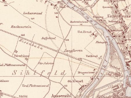 Historische Karte um 1850 (Quelle: Baugeschichtliches Archiv der Stadt Zürich/Creative Commons BY-SA 4.0)