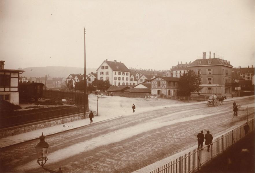 Die Langstrasse im Jahr 1907 (Quelle: Baugeschichtliches Archiv der Stadt Zürich/Creative Commons BY-SA 4.0)